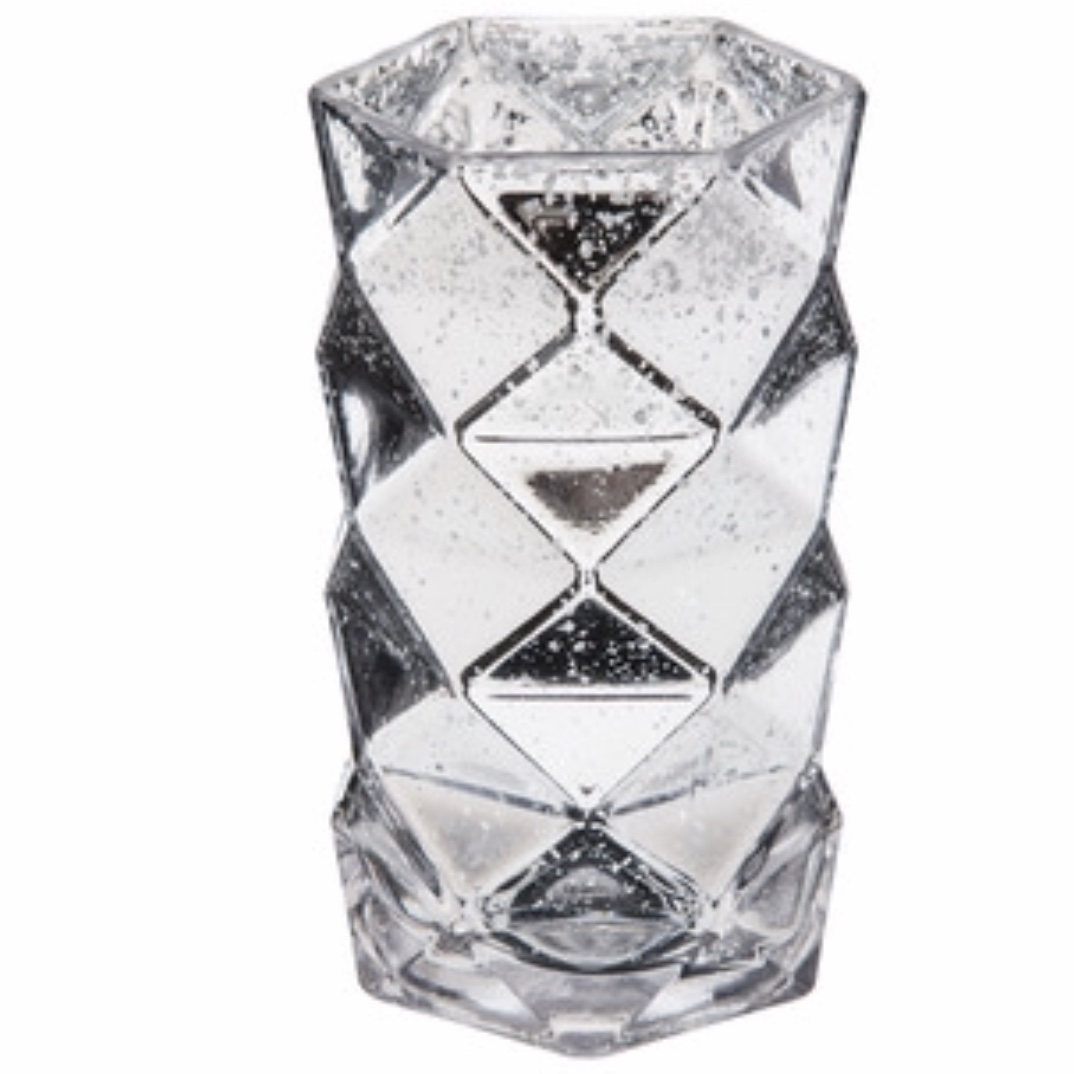 Silver Geometric Vase