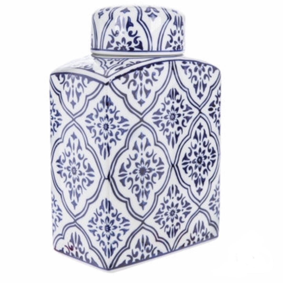Blue and White Ceramic Rectangular Vase
