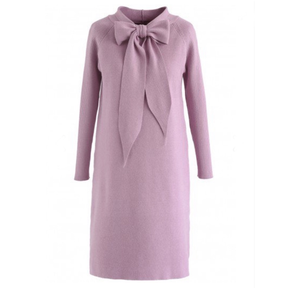 ChicWish Lovely Amore Pussy Bow Knit Dress in Pink