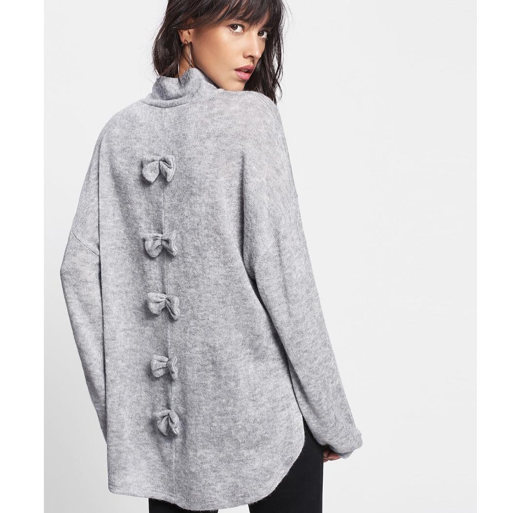 Shein Split Side Dip Hem Bow Back Sweater