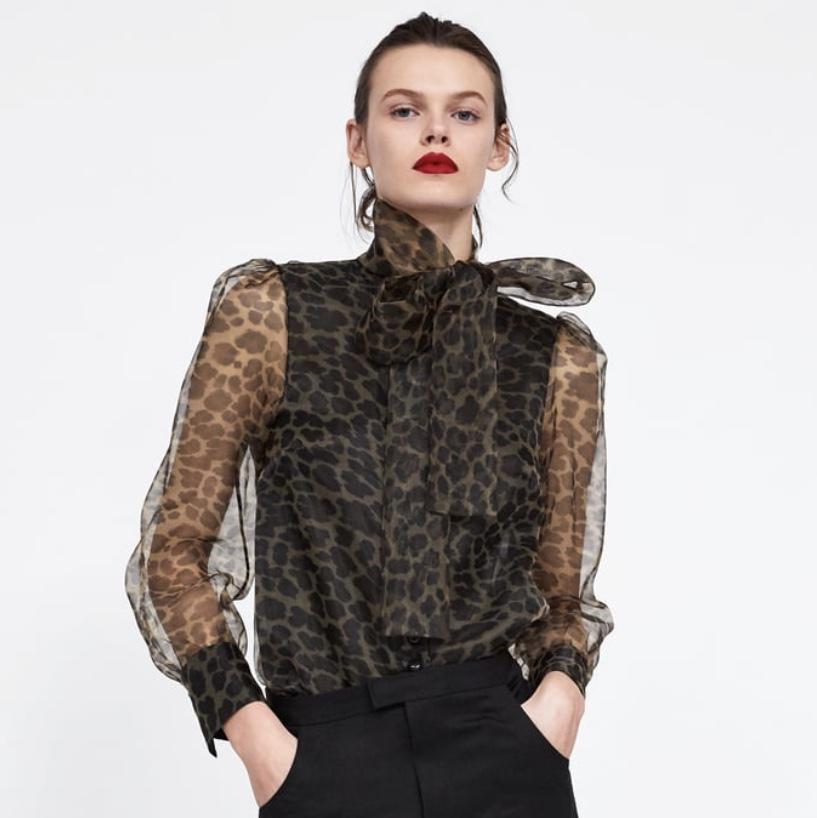Zara Animal Print Blouse with Tie