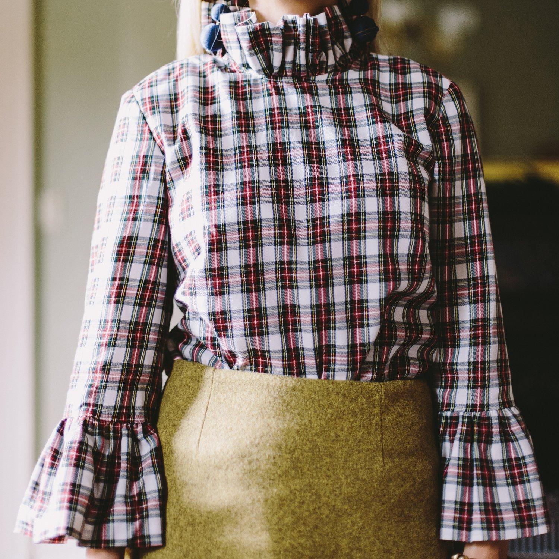 Elizabeth Wilson Designs Katherine Top in Ivory Plaid