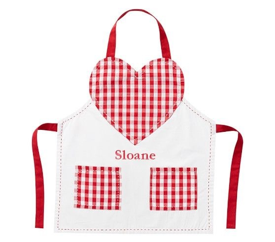 Pottery Barn - Gingham Heart Apron with Personalization Available
