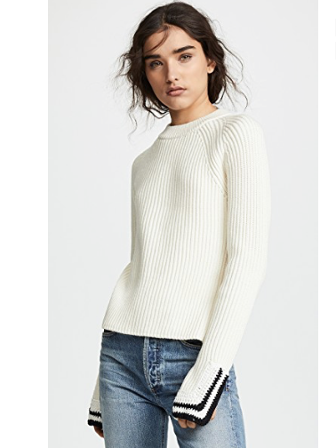15. Helmut Lang Crochet Detail Crew Neck Sweater