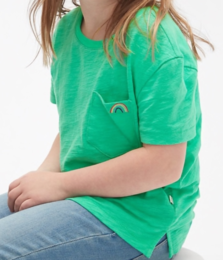 Gap Girls Embroidered Pocket Short Sleeve T-Shirt -