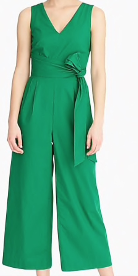 J. Crew Wrap-tie Jumpsuit in Stretch Poplin -