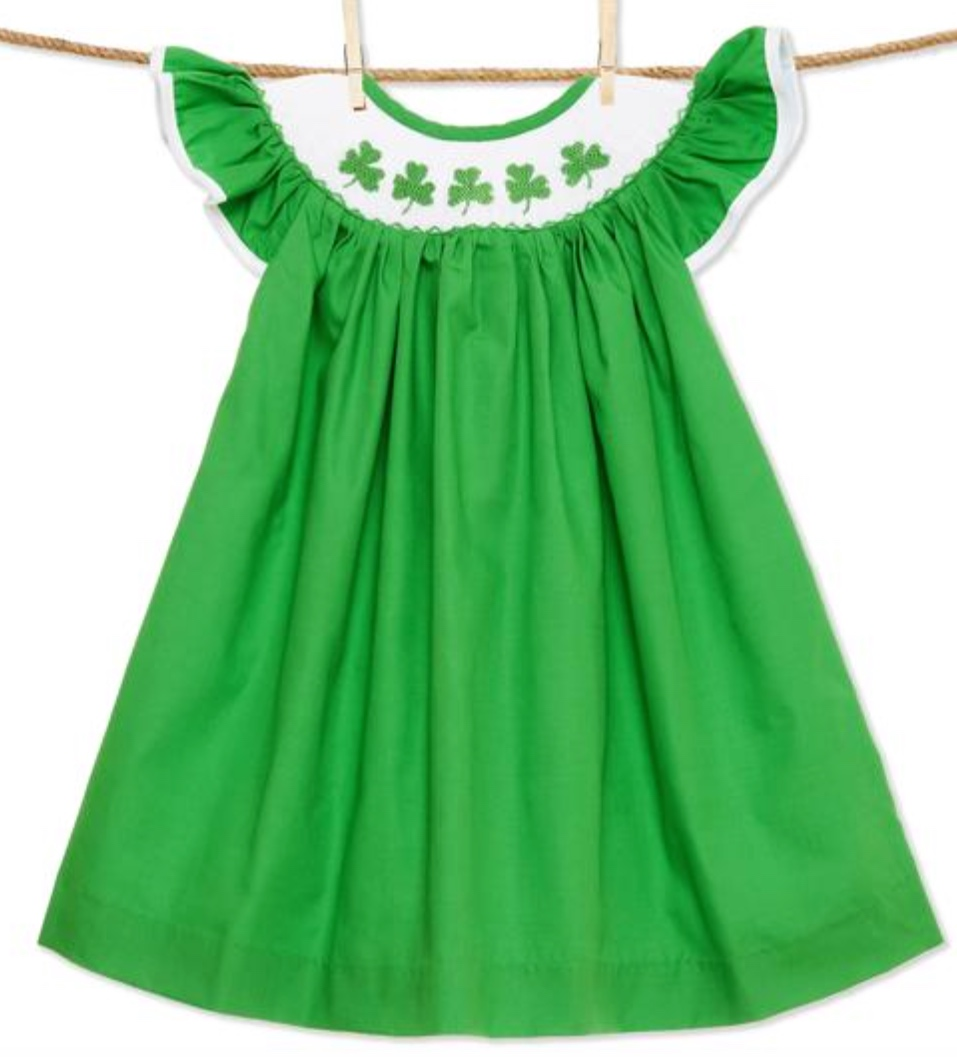 Shamrock Smocked Bishop Dress -