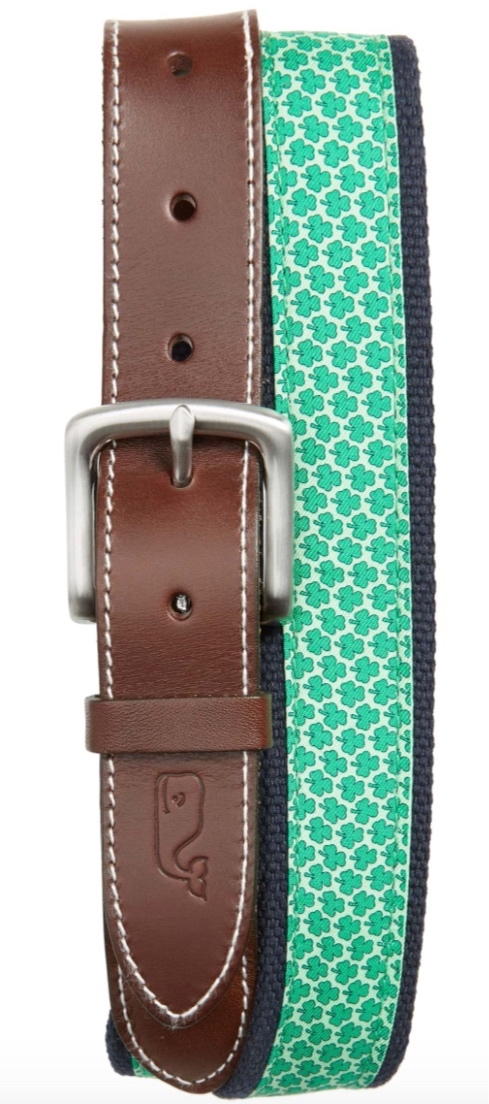 Vineyard Vines Mens Shamrock Silk & Canvas Club Belt -