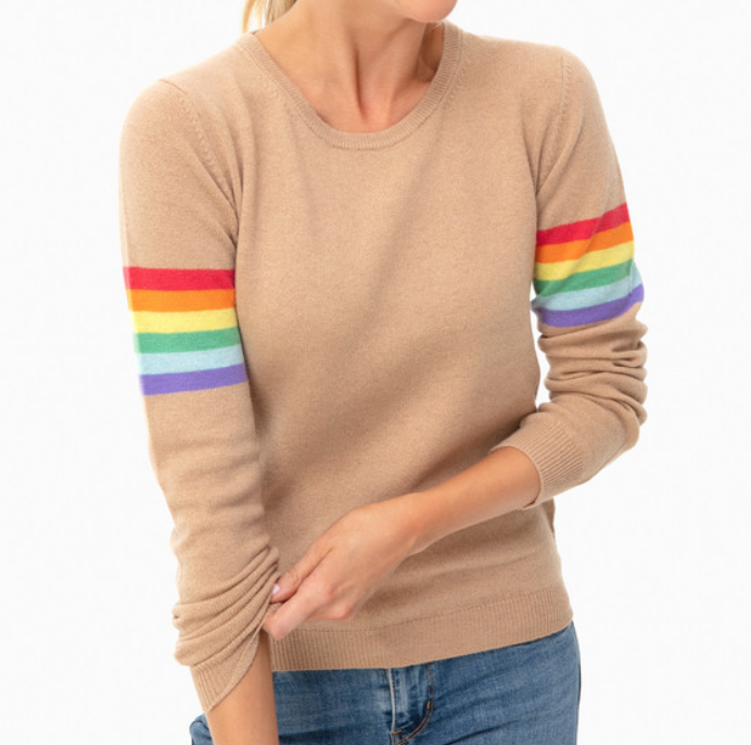 Jumper 1234 Camel Summer Rainbow Boyfriend Sweater -