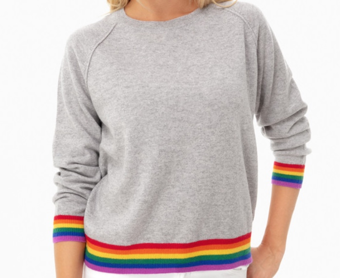 Jumper 1234 Pewter Stripe Hem Sweater -