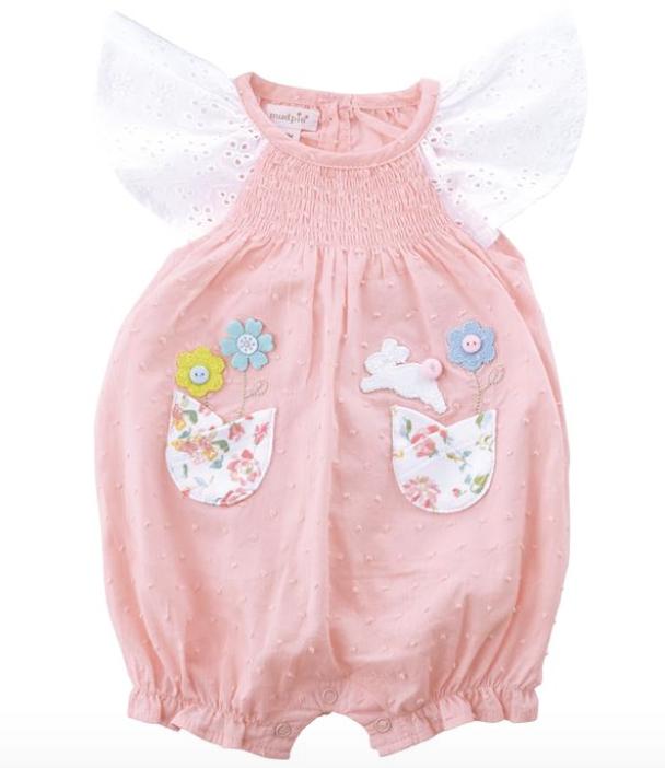 Mud Pie Pink Smocked Applique Bunny Bubble -