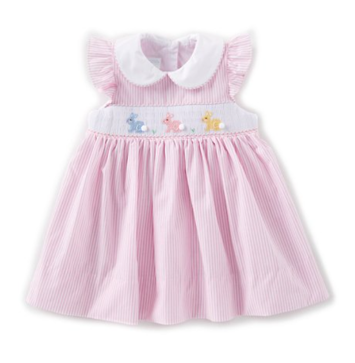Baby Girls 3-24 Months Embroidered Bunny Dress -