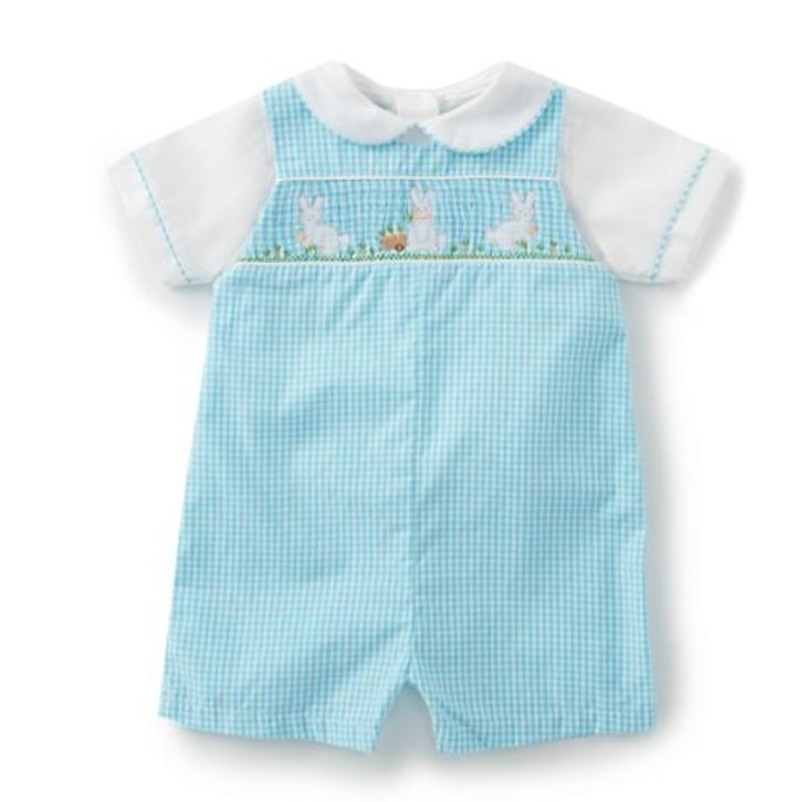 Baby Boys Newborn-24 Months Gingham Bunny Smocked Shortall -