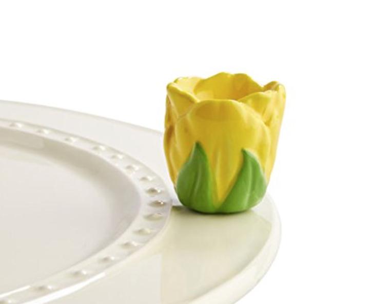 Nora Fleming Hand-Painted Mini: Tiptoe Thru 'em (Yellow Tulip) -