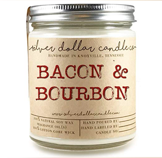 Bacon & Bourbon Man Candle Hand poured 100% Soy Wax Scented Candle by Silver Dollar Candle Co. -