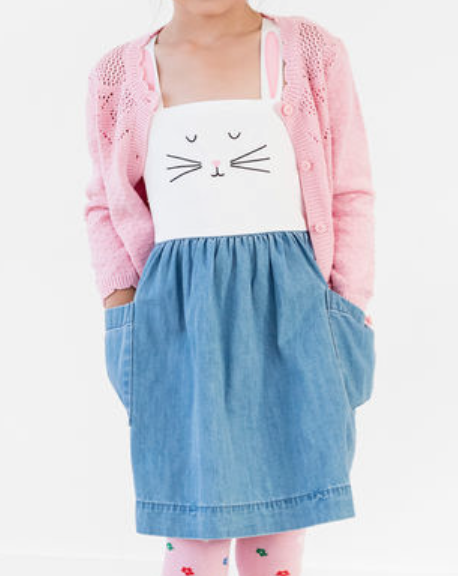 Hanna Andersson Bunny Jumper In Chambray -