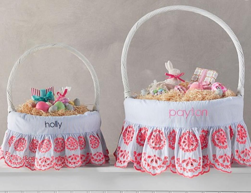 Pottery Barn Preppy Eyelet Easter Basket Liner -