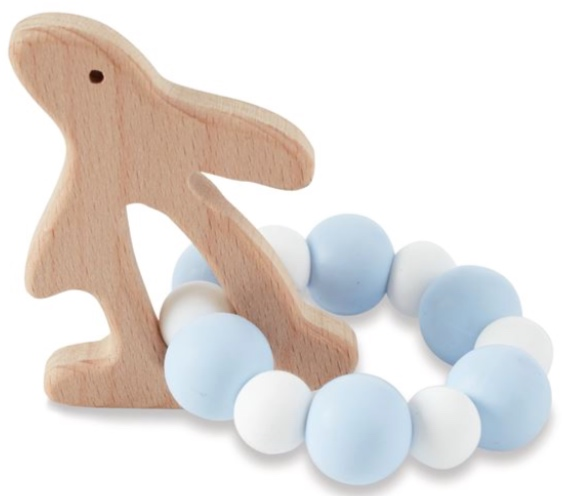 Blue Bunny Wood & Silicone Teether -