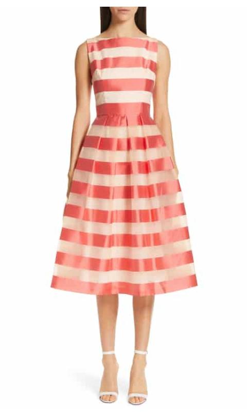 Lela Rose Boatneck Stripe Organza Dress