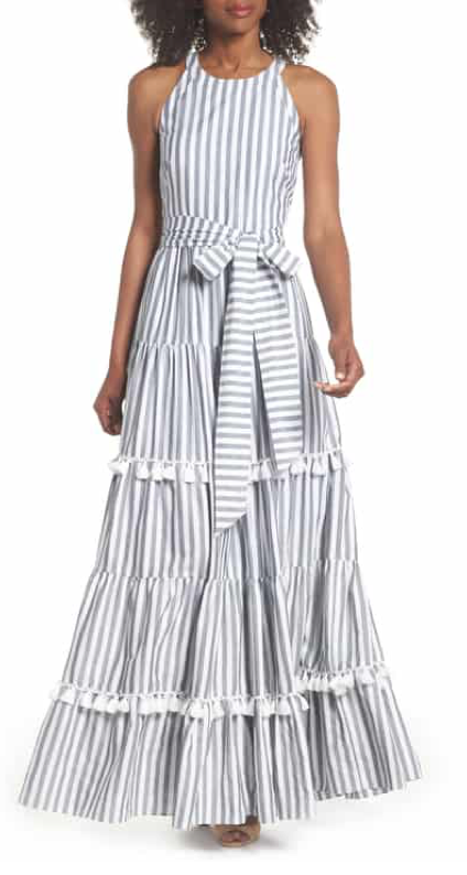 Eliza J Tiered Tassel Fringe Cotton Maxi Dress