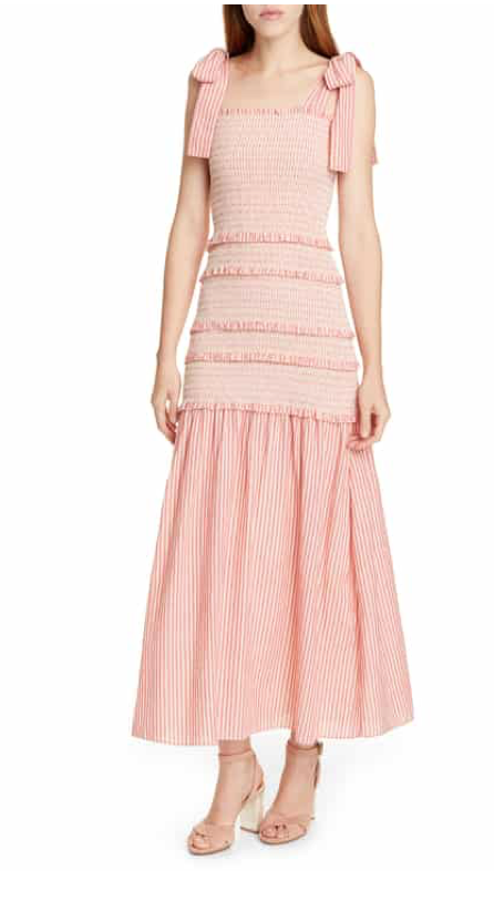 Love Shack Fancy Robyn Stripe Smocked Ruffle Maxi Dress