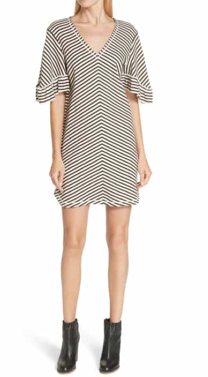 See By Chloé Stripe Ruffle Sleeve Shift Dress