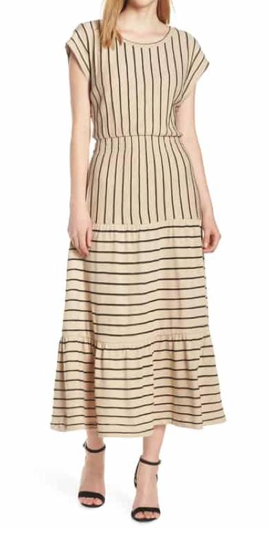 Caara Wesley Stripe Tiered Cotton Knit Dress