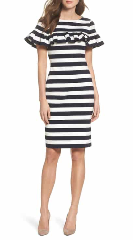 Eliza J Stripe Ruffle Sheath Dress