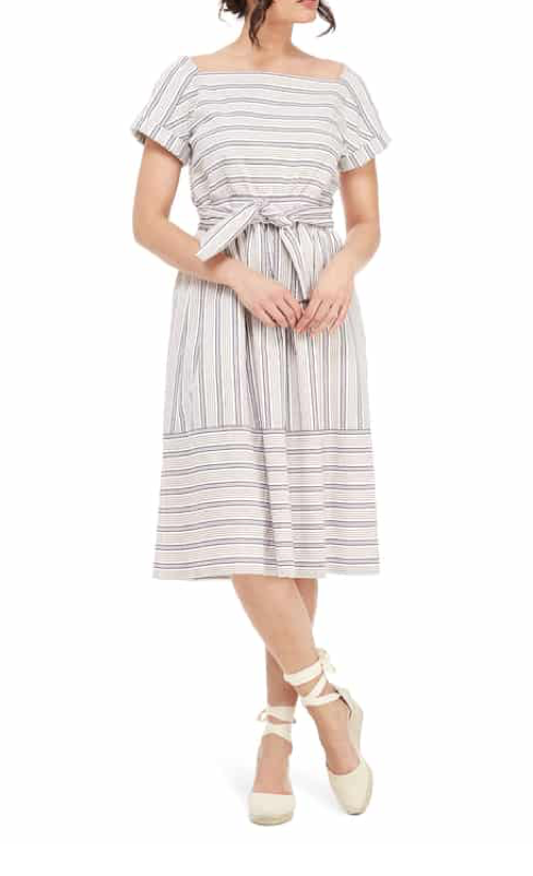 Gal Meets Glam Stripe Square Neck Dress