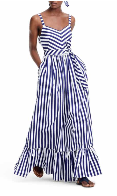 J. Crew Stripe Ruffle Cotton Maxi Dress