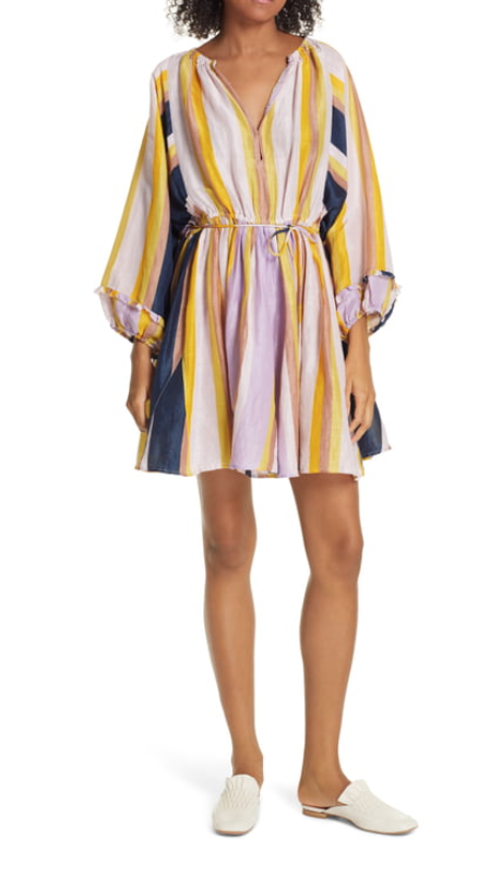 A Piece Apart La Flutte Stripe Cotton & Silk Minidress