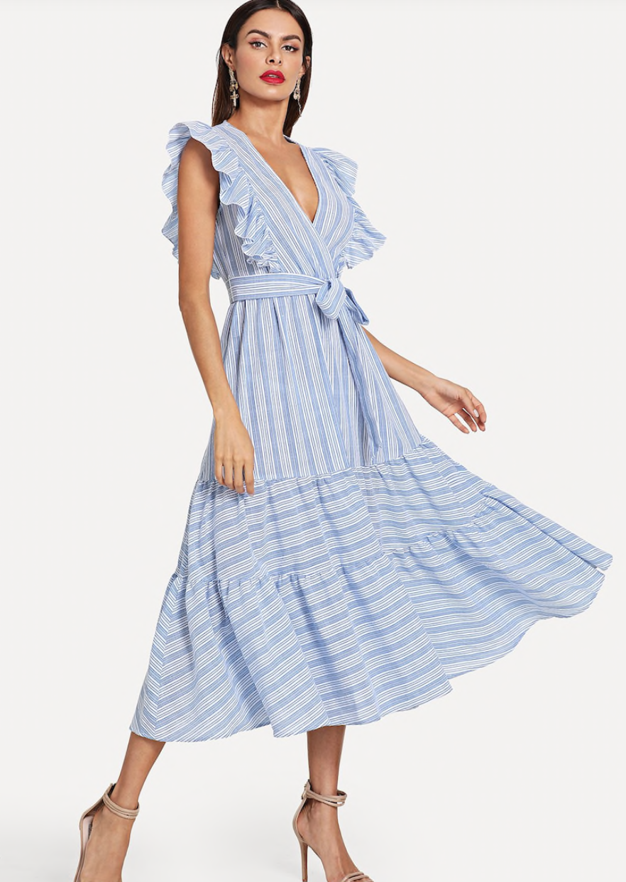 Shein Ruffle Trim Tiered Striped Wrap Dress