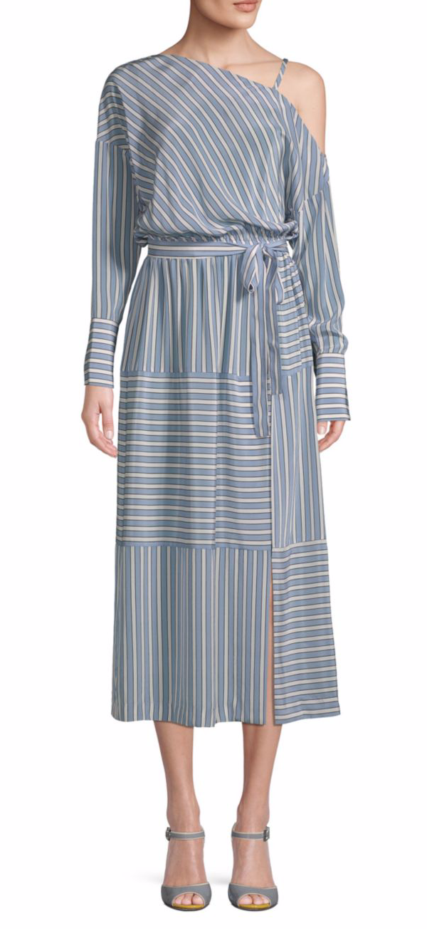 Robert Rodriguez Striped Cold-Shoulder Silk Dress