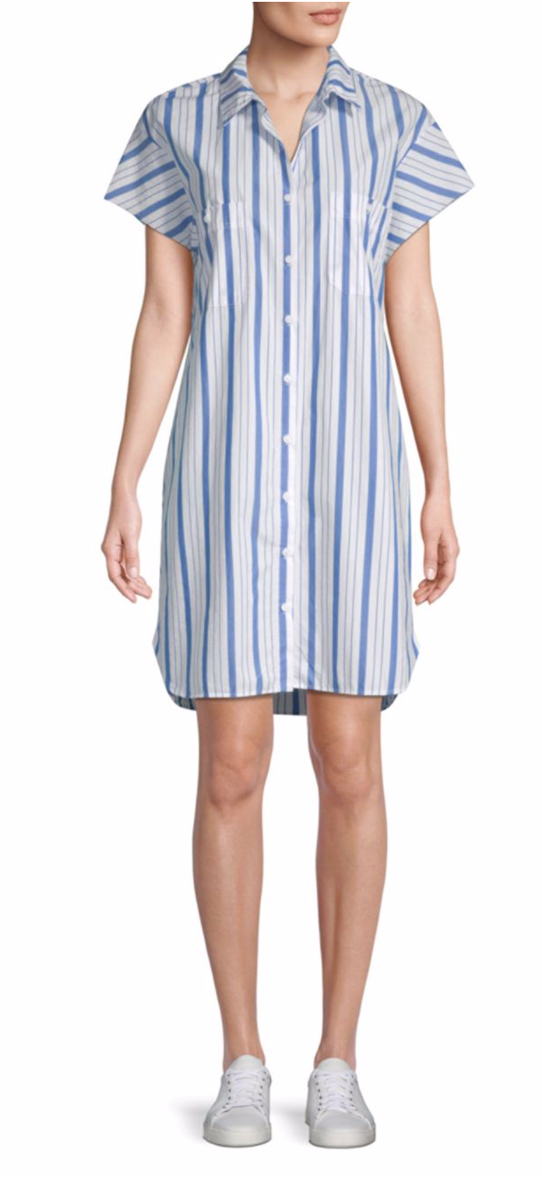 Stateside Striped Cotton Shirtdress