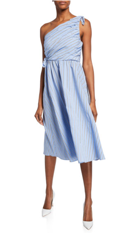 A.L.C. Cabrera Striped One-Shoulder Dress