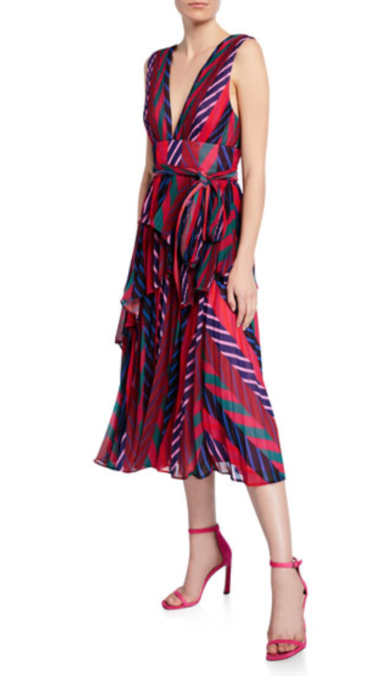 La Maison Talulah Sugar and Spice Pleated Striped Midi Dress