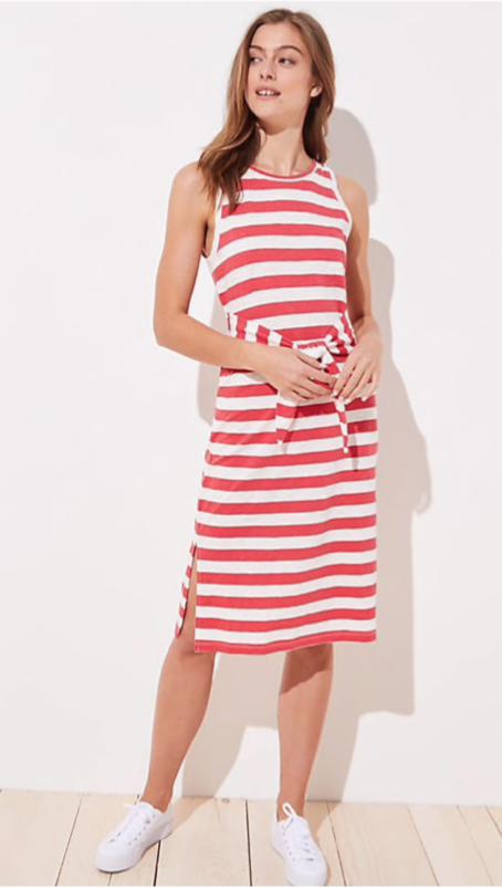 Loft Beach Striped Tie Waist Midi Dress