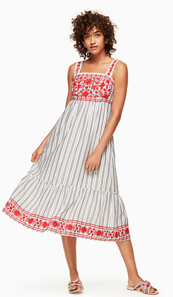 Kate Spade Stripe Embroidered Midi Dress