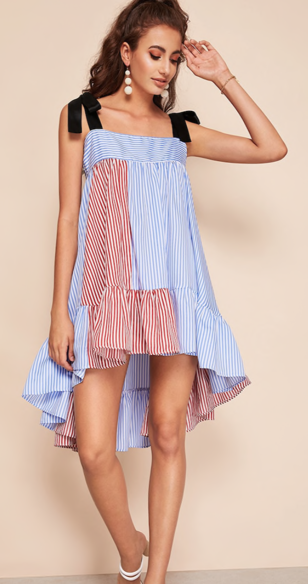 Shein Self Tie Shoulder Colorblock Dip Hem Striped Dress