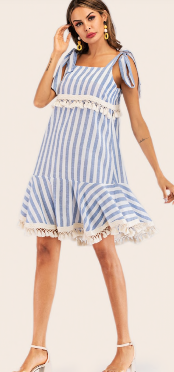 Shein Striped Knot Detail Fringe Hem Dress