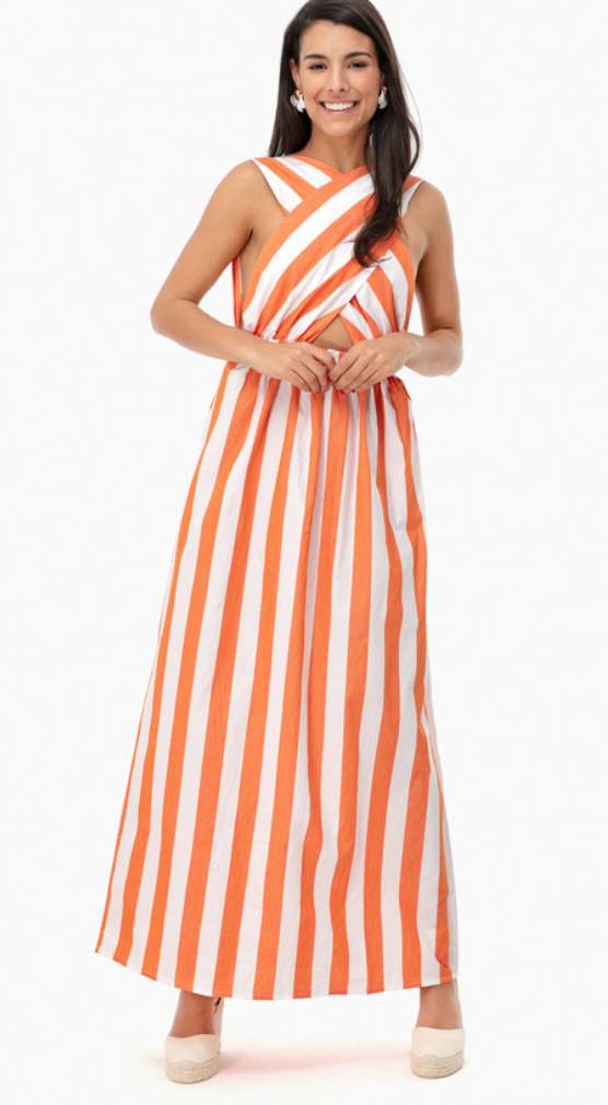 Tuckernuck Orange Striped Rosario Dress