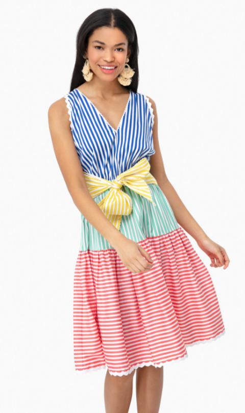 Tuckernuck Arleen Tiered Striped Midi Dress