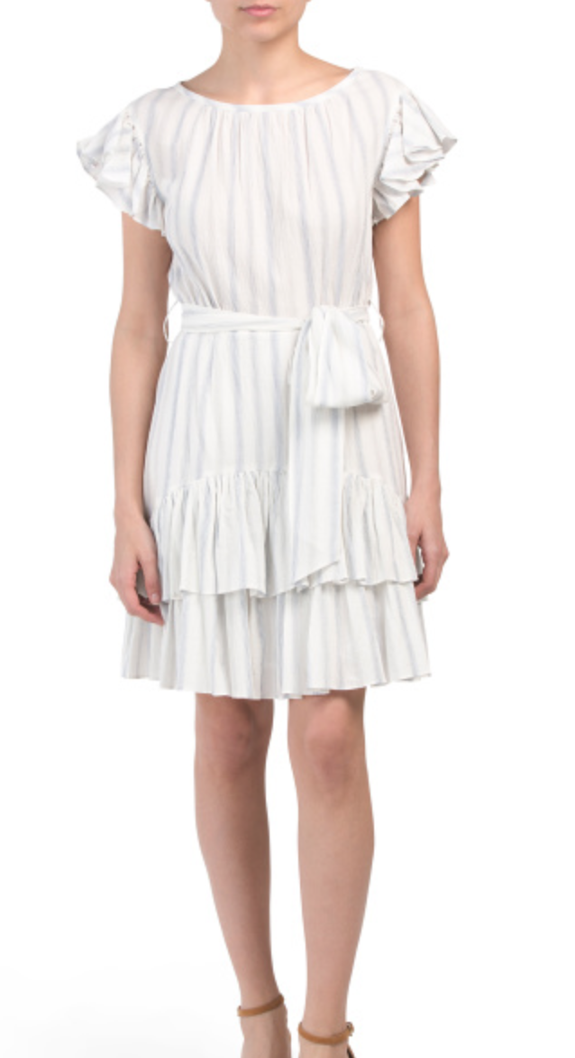 Rebecca Taylor Striped Ruffle Dress