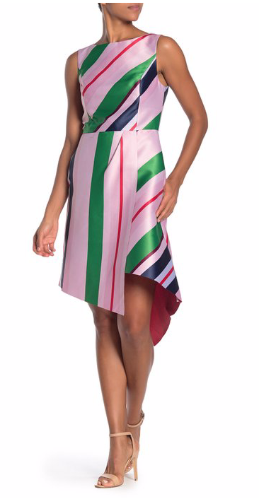 Ted Baker London Bay of Honor Stripe Asymmetrical Hem Dress