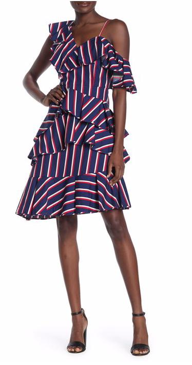 Alice + Olivia Laflora Striped Poplin Ruffle Dress