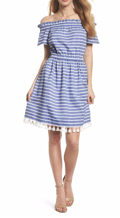 Eliza J Stripe Off-the-Shoulder Dress