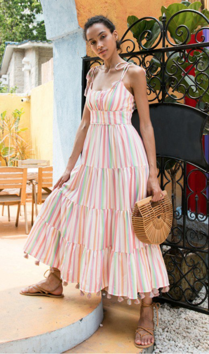 Chicwish Rainbow Candies Stripes Maxi Dress