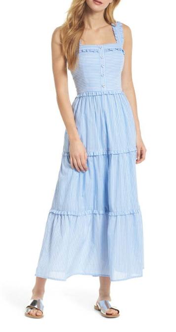 Gal Meets Glam Courtney Rio Stripe Lawn Maxi Dress