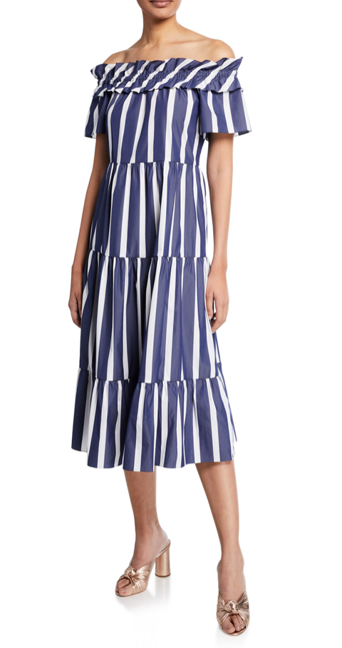 Trina Turk Cattleya 2 Santorini-Stripe Off-the-Shoulder Shirting Dress