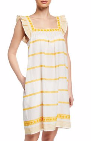 Tory Burch Sleeveless Striped Embroidered Sun Dress w/ Ruffle Detail